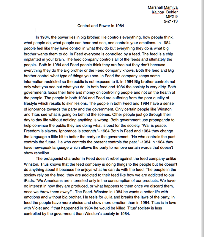 the one page essay on control in and feed the as mpx  the one page essay on control in 1984 and feed the 9as mpx9 spring 2013