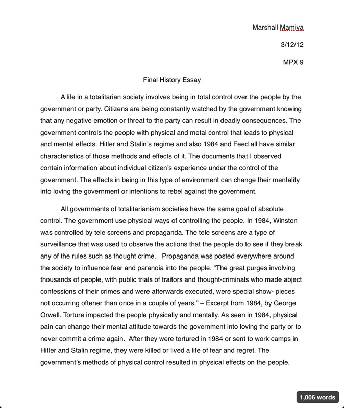 1984 essay totalitarian society